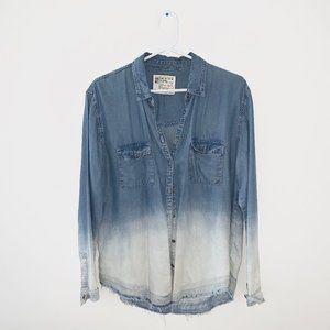 2/$30 Garage Chambray Dip-Dye Bleached Denim Shirt